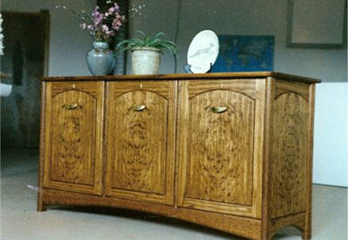 English Brown Oak Cabinet with Maple Inserts