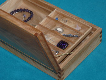 Solid Flame Yellow Birch with Cherry Accents Jewellry Box
