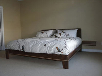 Walnut Bed Frame with Maple Inlay and floating side tables